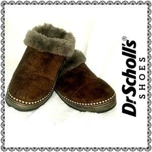 {Dr. Scholl's} Snuggle Brown slipper shoes, sz 8